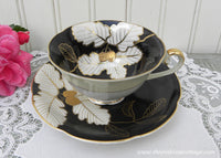 Vintage Diamond China Occupied Japan Black White and Gold Teacup