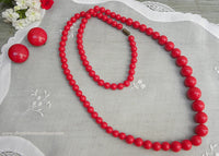 Vintage Red Beaded Necklace and Earring Set