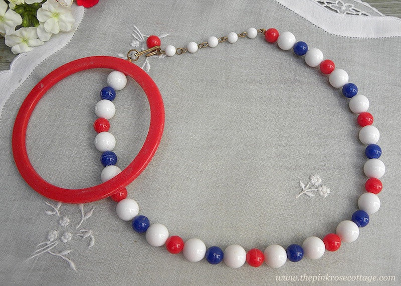 Vintage Red White and Blue Patriotic Necklace and Bangle Bracelet