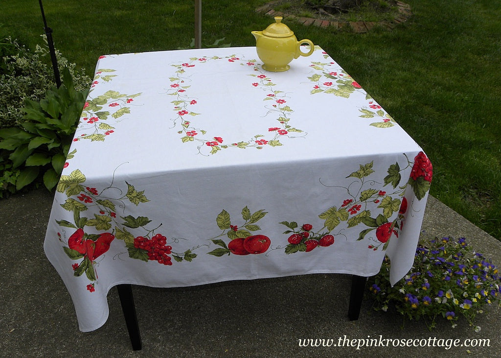 Vintage Strawberries Grapes Apples Pears and More Tablecloth
