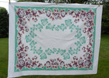 Vintage Signed Calloway Hydrangea Tablecloth Jadite Green and Maroon