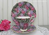 Vintage Royal Standard Black Chintz Pink Roses and Hydrangeas Teacup Saucer and Plate
