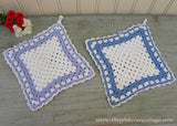 Pair of Blue and White Crocheted Vintage Potholders - The Pink Rose Cottage