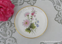 Vintage Pink Daises and Bluebells Coaster Trinket Teabag Holder
