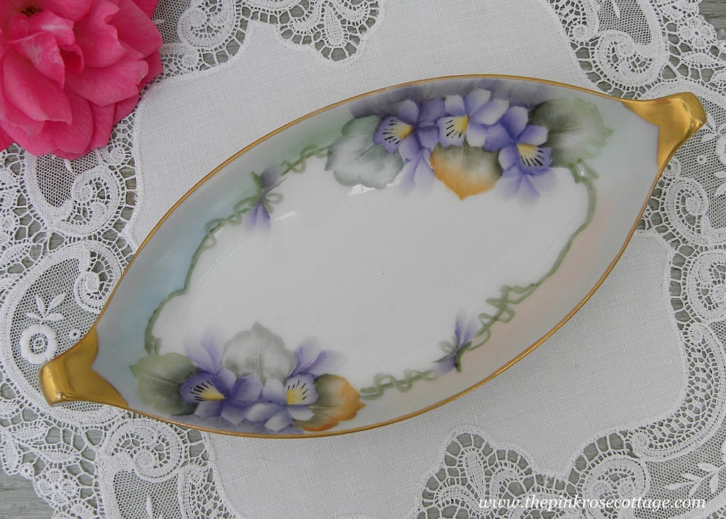 Vintage Hand Painted Purple Cottage Violets Handled Tidbit Dish