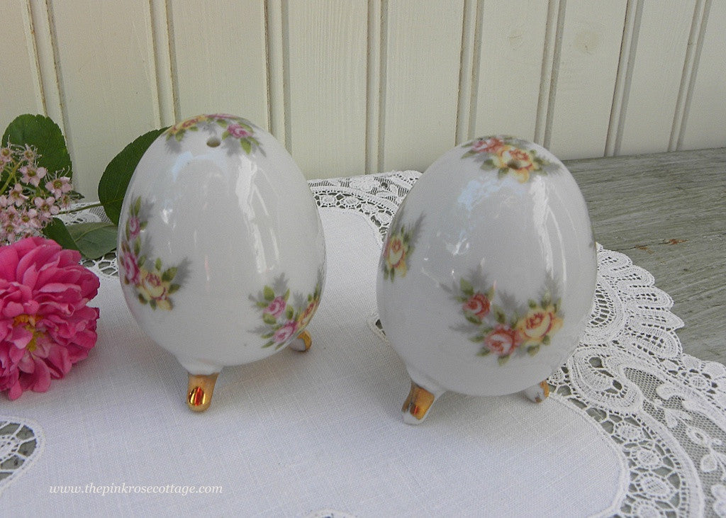 Vintage Enesco Yellow and Pink Rose Egg Shaped Salt and Pepper Shakers