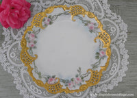 Vintage Hand Painted Gold Gilt and Pink Rose Reticulated Plate