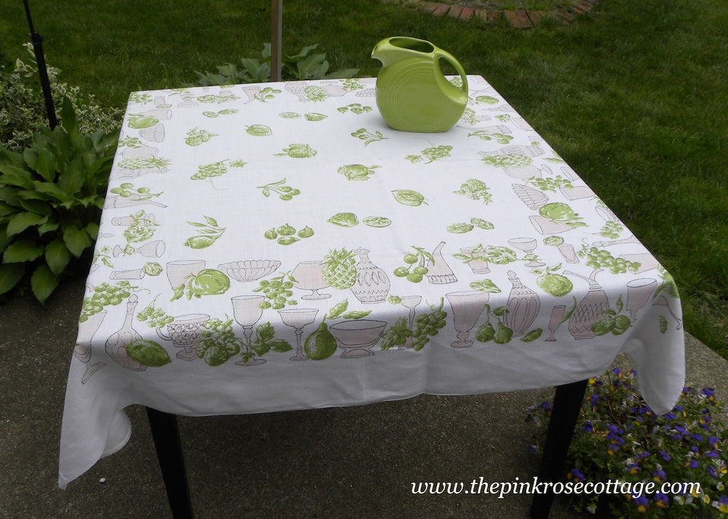 Vintage Pink and Chartreuse Tablecloth Fruits Wine Glasses Decanters and More