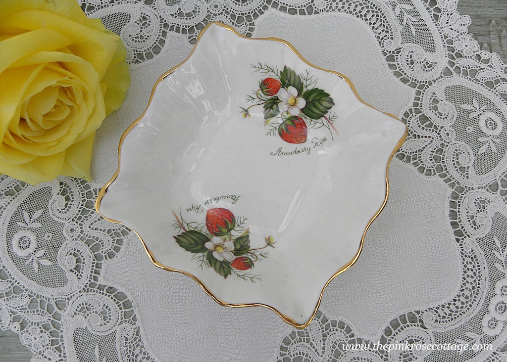 Vintage Crownford China Strawberry Ripe Tidbit Trinket Dish
