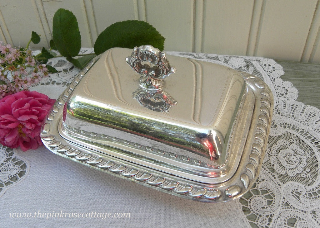 Small Vintage Silver Plated Covered Butter Dish - The Pink Rose Cottage