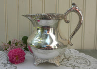 Vintage Adelphi Silver Plated Footed Pitcher Creamer - The Pink Rose Cottage