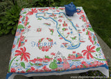 Vintage 1940 Florida State Map Souvenir Flamingos Tablecloth - The Pink Rose Cottage