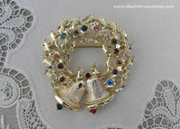 Vintage Rhinestone Christmas Holly Wreath with Bells Brooch Pin