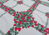 Vintage Strawberries with Sage Green Tablecloth