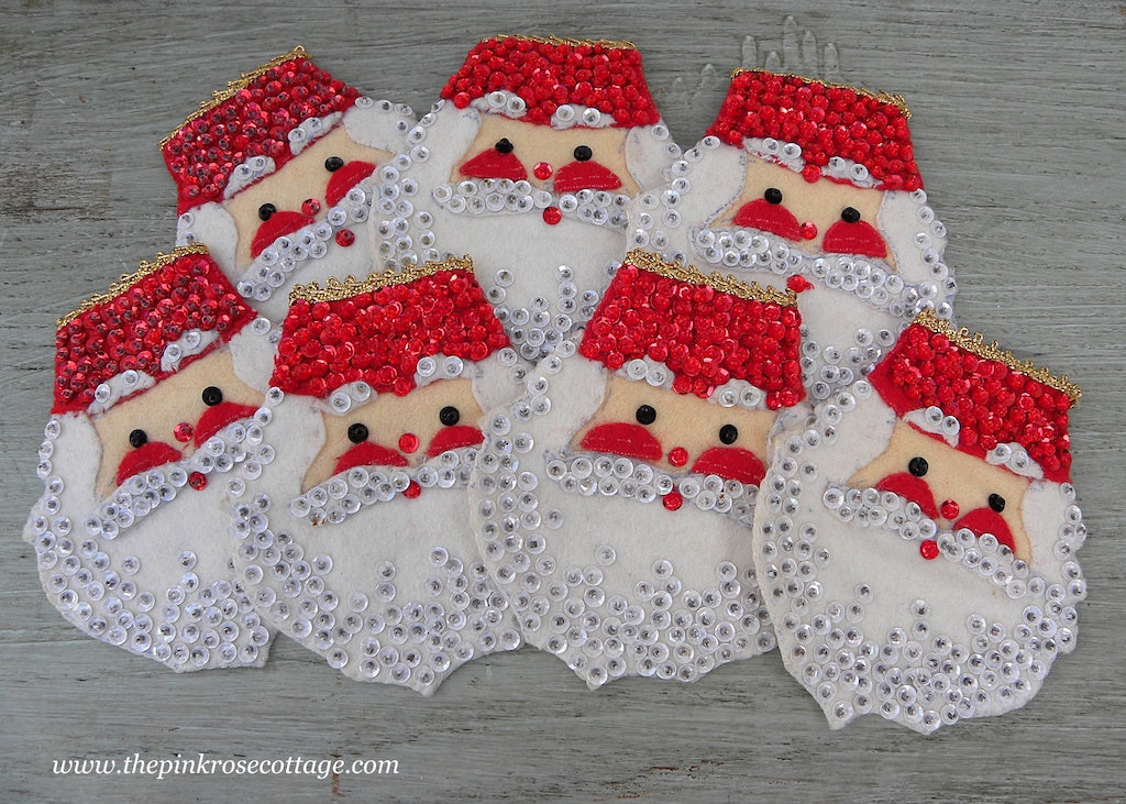 Vintage Sequins Christmas Santa Claus Napkin Rings The Pink Rose Cottage