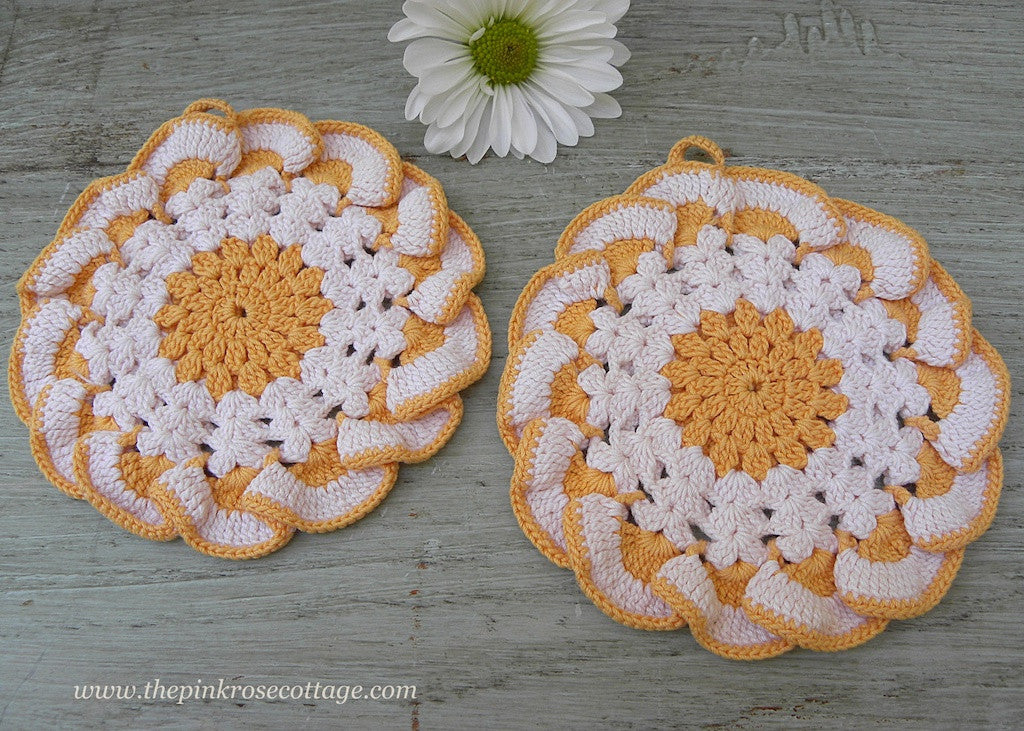 Pair of Light Orange  and White Crocheted Vintage Potholders - The Pink Rose Cottage