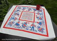 Vintage Whimsical People Gardening and Biking Red White and Blue Tablecloth