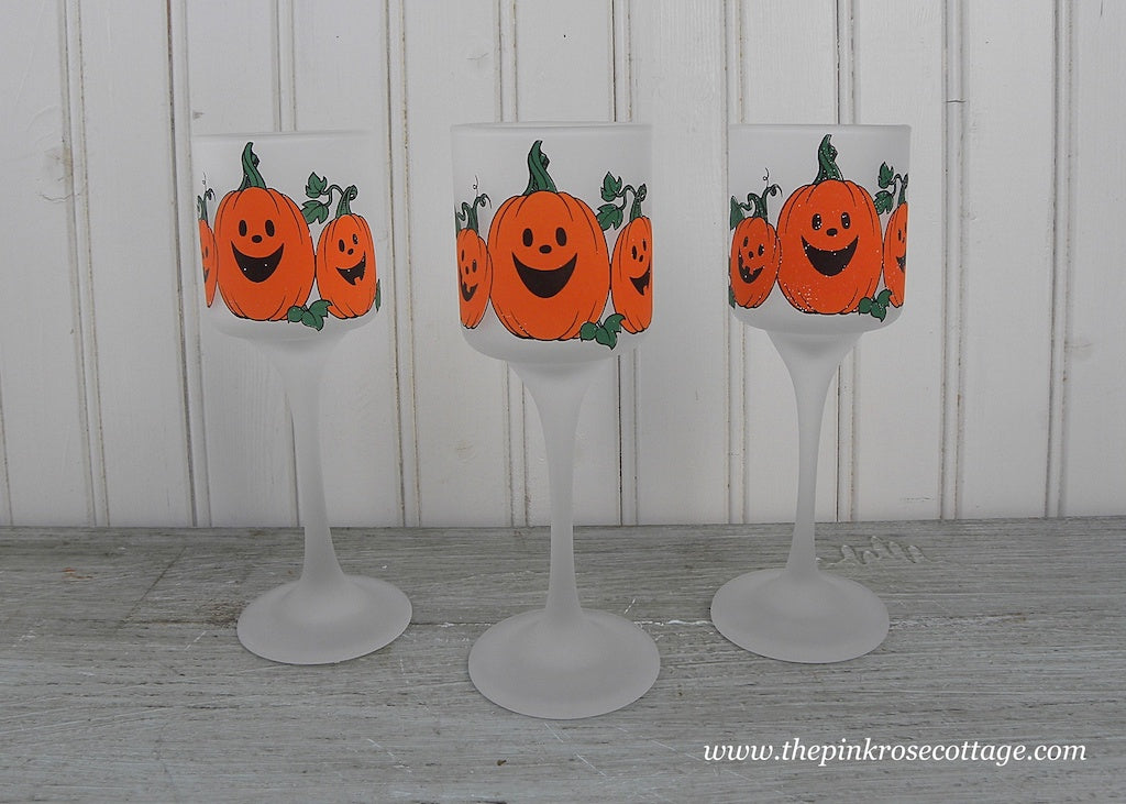 Set of 3 Vintage Halloween Pumpkin Votive Candle Holders