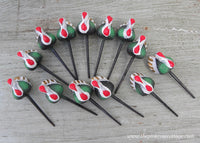 Vintage Thanksgiving Turkey Cupcake Cake Picks Set of 12