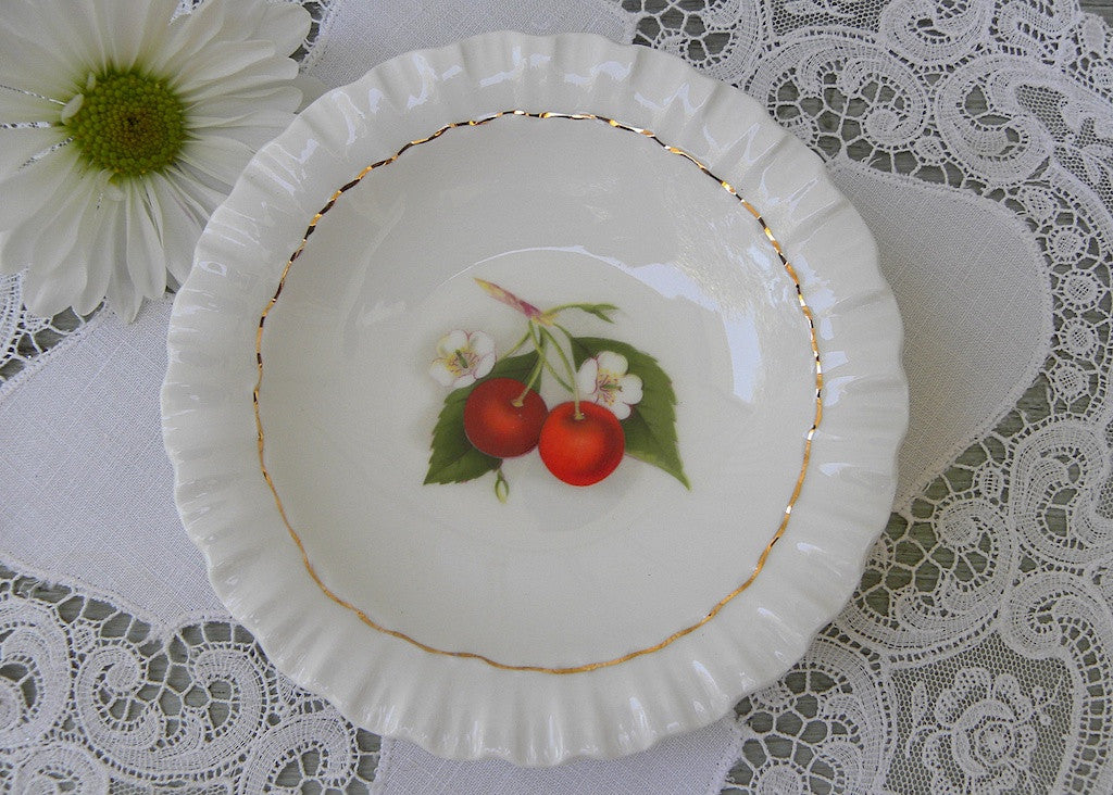 Vintage Adderley Cherry Ripe Teabag Holder Dish