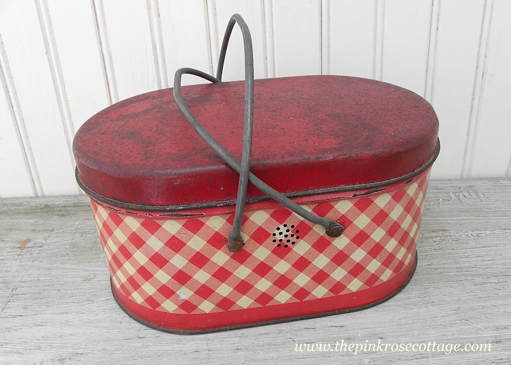 Vintage Metal Tin Lunchbox Picnic Basket Red and White Plaid