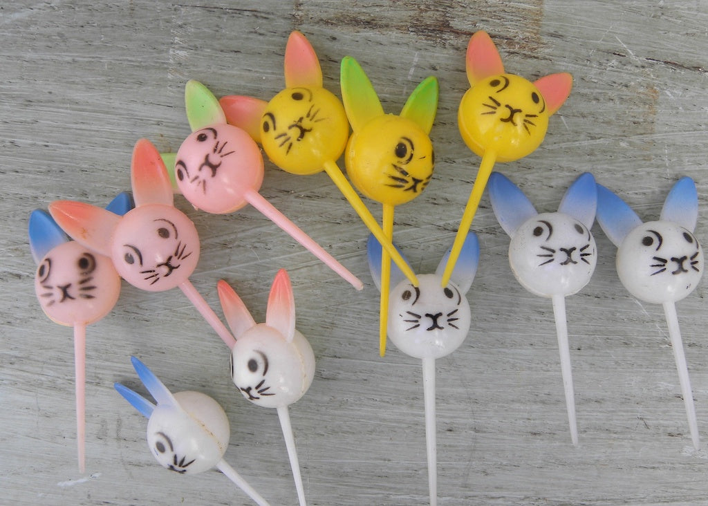 Vintage Easter Bunny Faces Cupcake Cake Picks