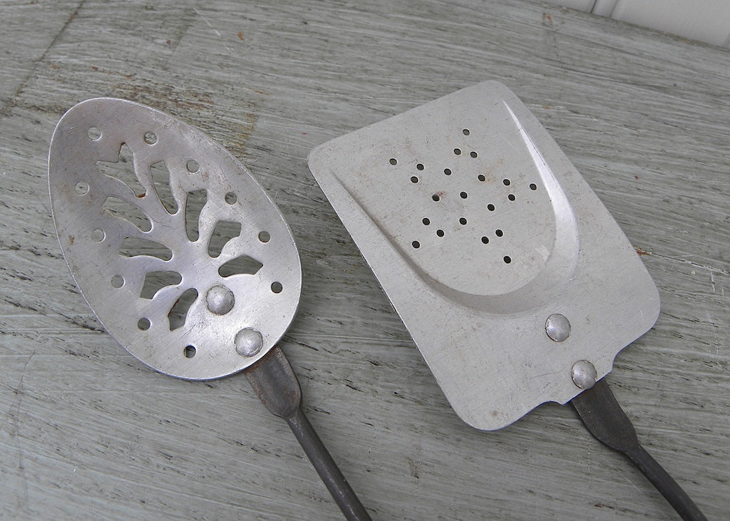 Vintage Childrens Red Handled Toy Utensils Spatula And