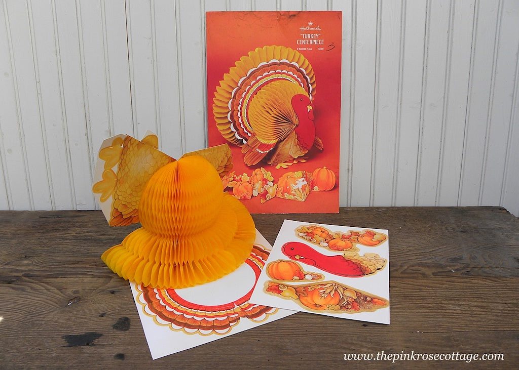 Vintage Hallmark Honeycomb Thanksgiving Turkey Centerpiece