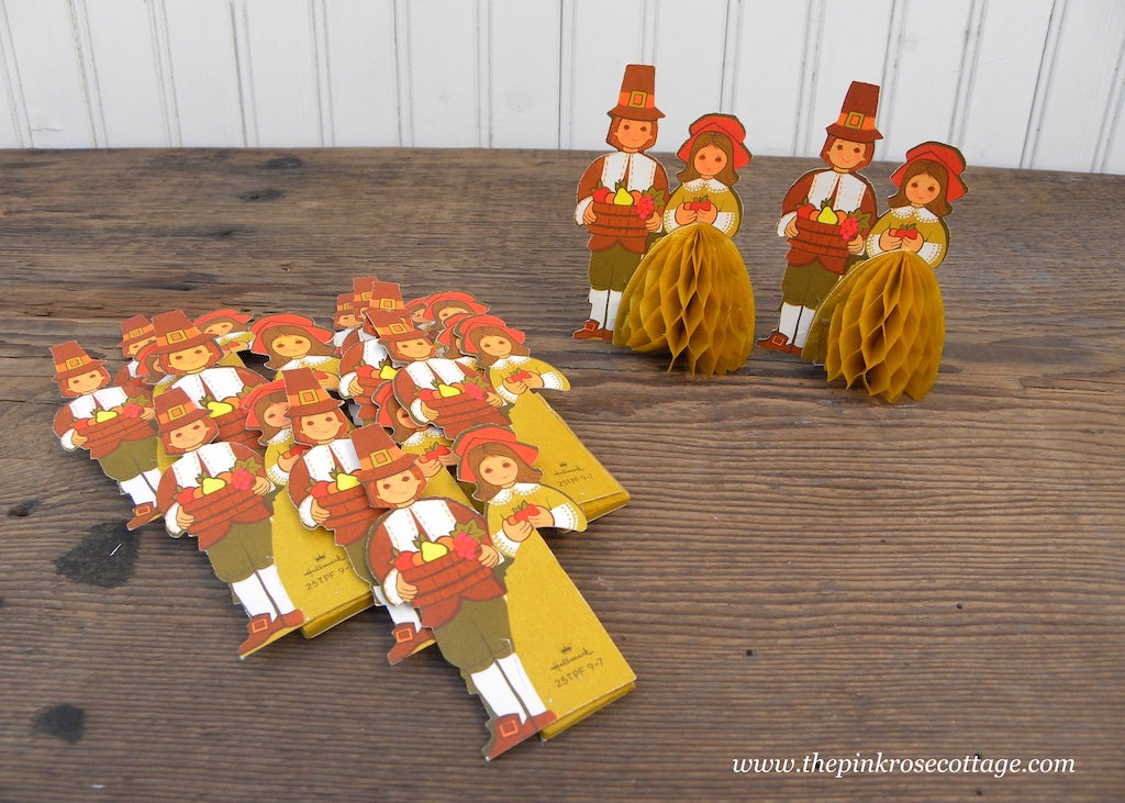 12 Vintage Hallmark Honeycomb Thanksgiving Boy and Girl Pilgrims