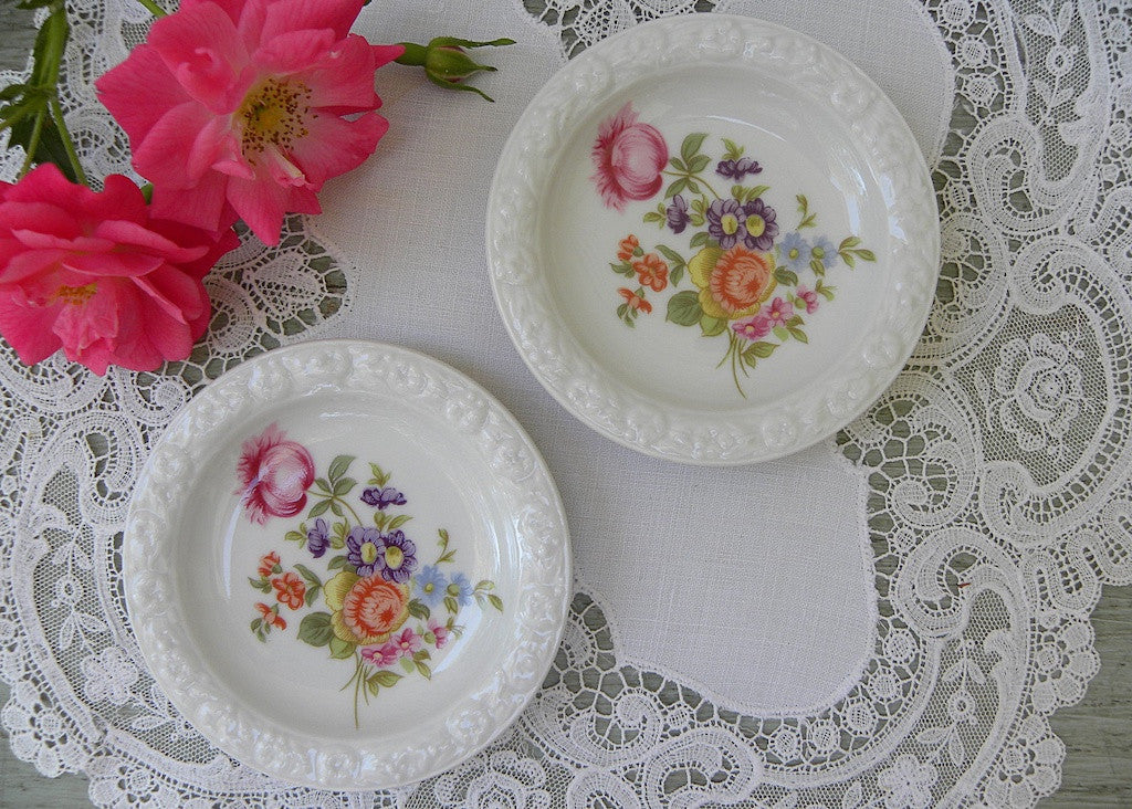 Pair of Vintage Roshenthal Germany Pink Roses and Wild Flowers Teabag Holders - The Pink Rose Cottage