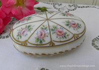 Limoges France Vintage Hand Painted Pink Rose Trinket Ring Box