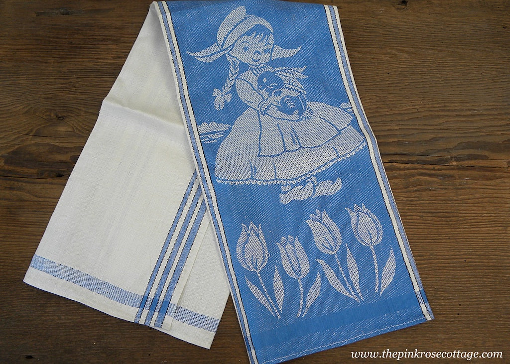 Vintage Unused Linen Damask Blue and White Dutch Boy and Girl Bunnies Tea Towel