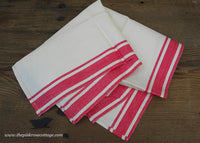 Unused Vintage Linen Red and White Kitchen Tea Towel