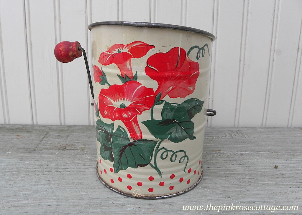 Vintage Kitchen Red Morning Glories and Polka Dots Flour Sifter