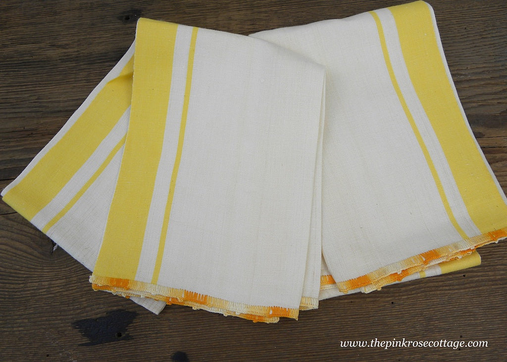Pair of Unused Vintage Linen Yellow Striped Crocheted Trim Tea Towels