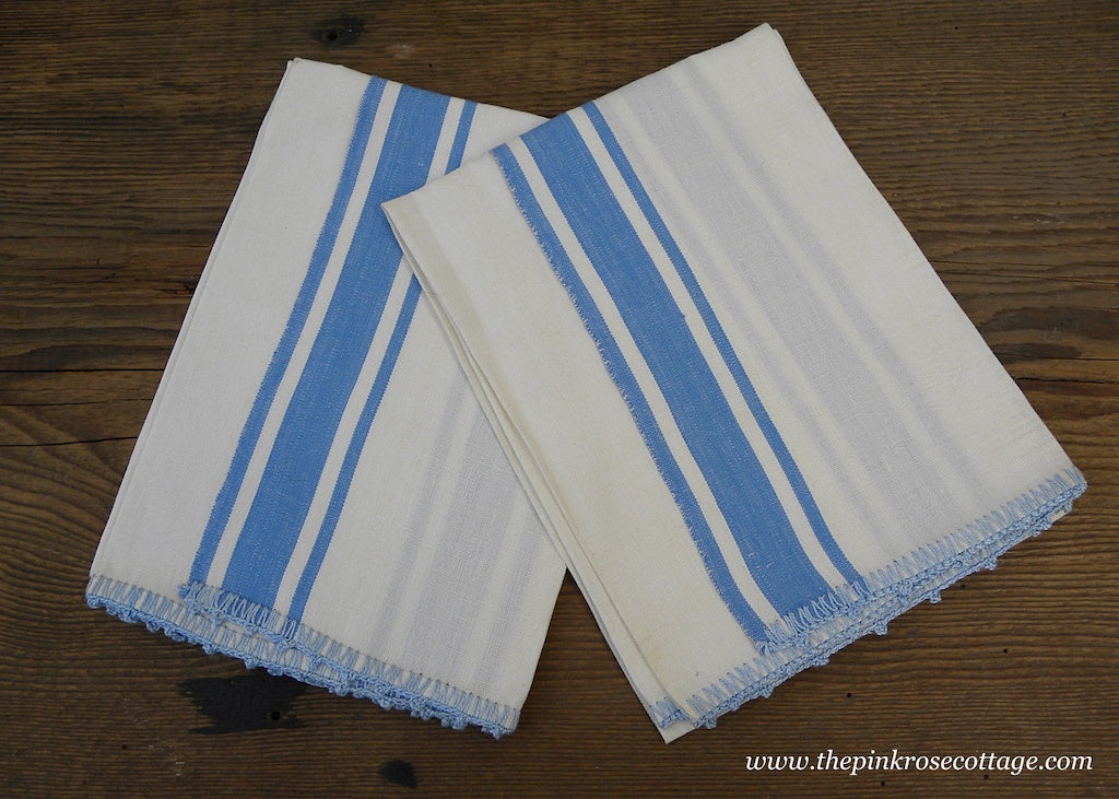Pair of Unused Vintage Linen Blue Striped Crocheted Trim Tea Towels