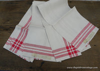 Pair of Tagged Red and White Vintage Irish Linen Kitchen Tea Towels