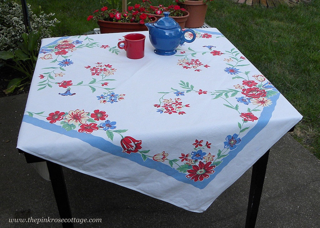 Vintage Tablecloth Yellow Roses Red Daisies and More