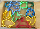 Vintage German Ausstechformen Colorful Plastic Cookie Cutters Original Box
