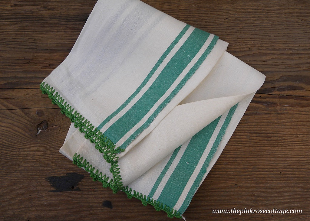 Unused Vintage Linen Green and White Kitchen Tea Towel with Crocheted Edge
