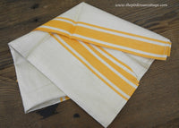 Unused Vintage Linen Yellow and White Kitchen Tea Towel