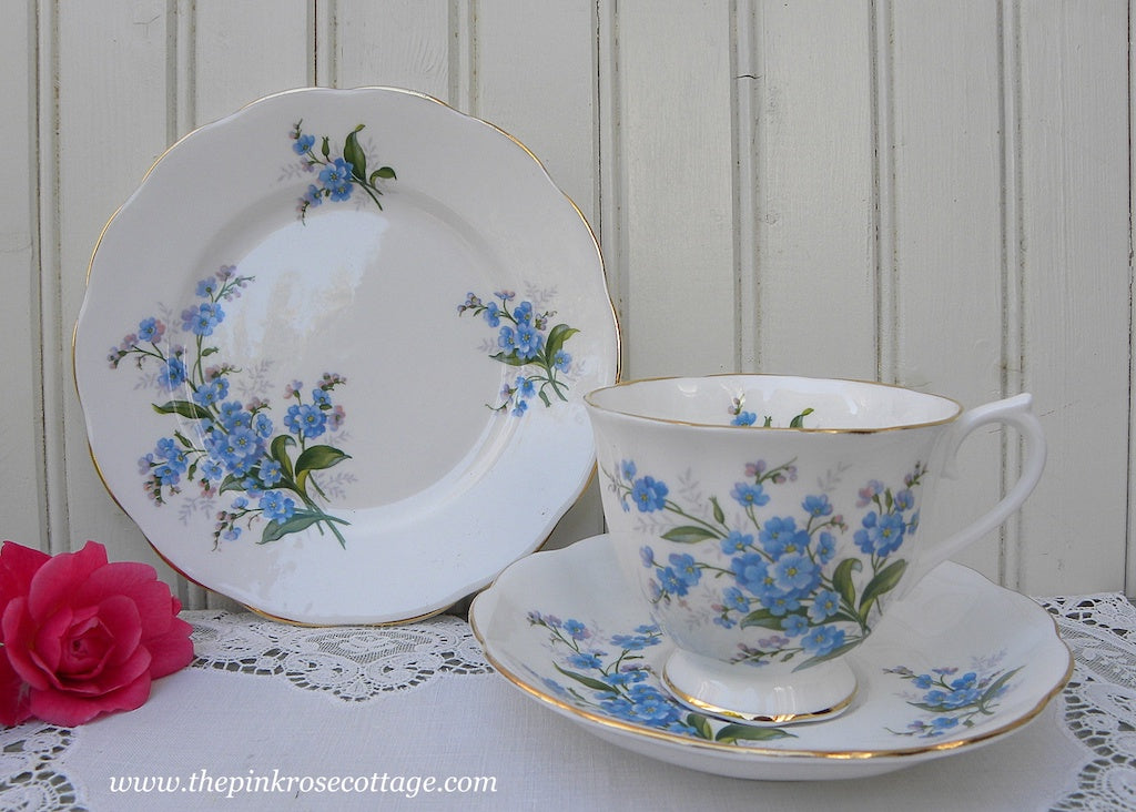 1950's Vintage Royal Albert Forget-Me-Not Teacup Saucer and Dessert Plate