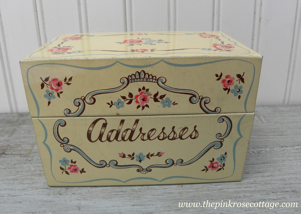 Vintage Metal Stylecraft Address Organizer Box with Pink Roses