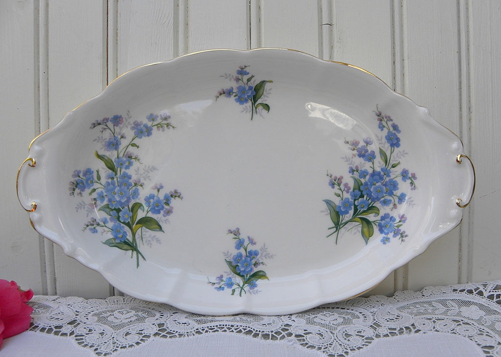 1950's Vintage Royal Albert Forget-Me-Not Handled Tidbit Tray