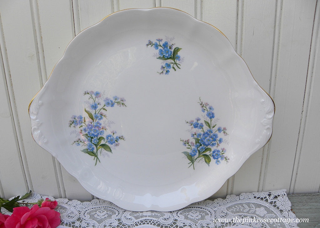 1950's Vintage Royal Albert Forget-Me-Not Handled Cake Plate