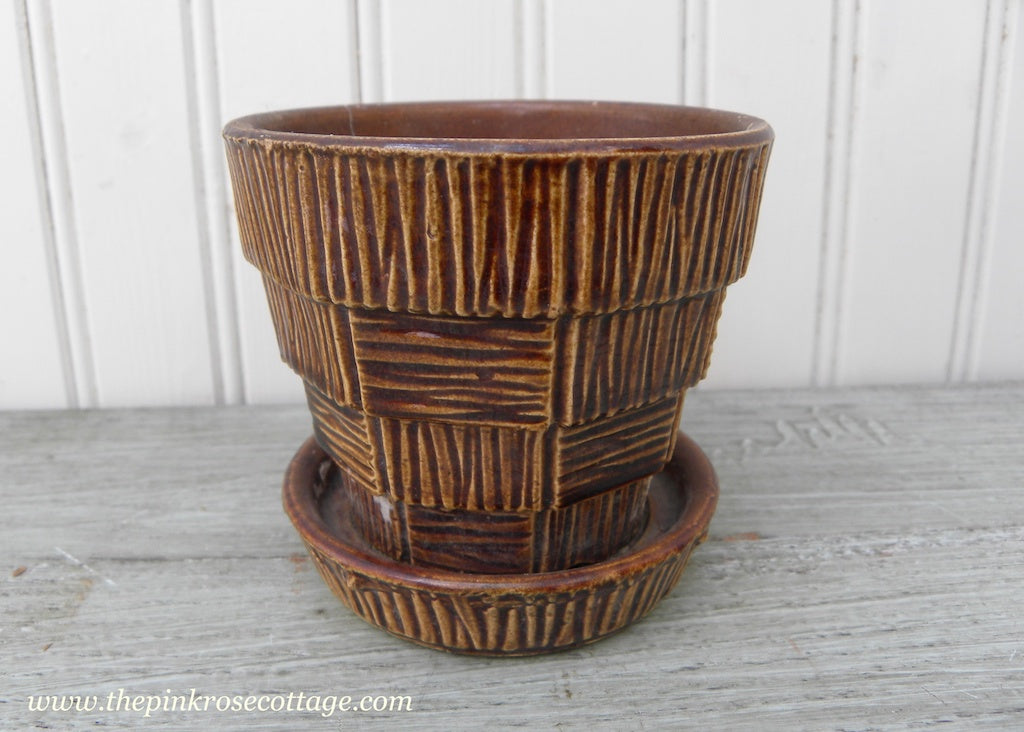 Vintage McCoy Bark and Block Flower Pot Planter Brown