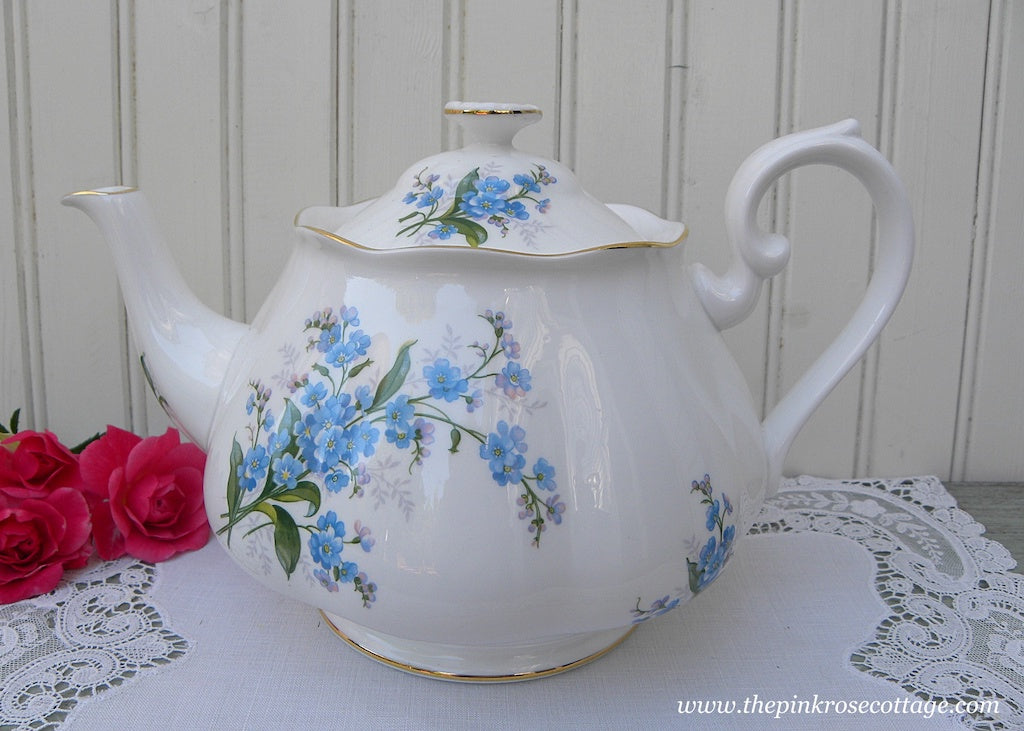 1950's Vintage Royal Albert Forget-Me-Not Blue Floral Teapot