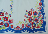 Red Blue Chartreuse Wild Roses and Daisies Vintage Tablecloth - The Pink Rose Cottage