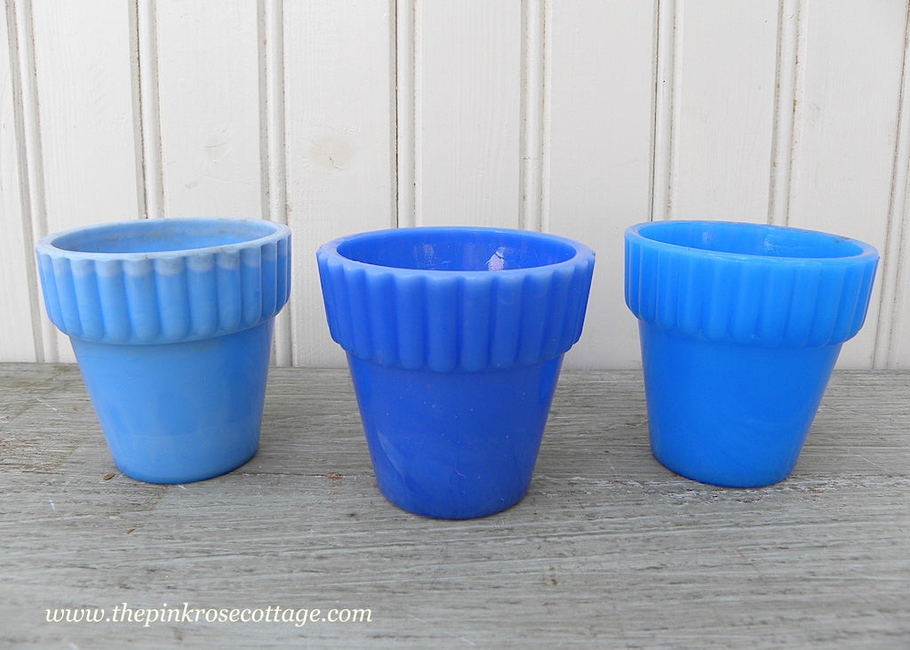 Set of 3 Vintage Agate Slag Glass Blue Flower Pots - The Pink Rose Cottage