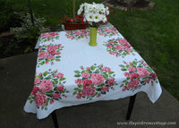 Vintage Tablecloths with Large Bouquets of Pink Cabbage Roses